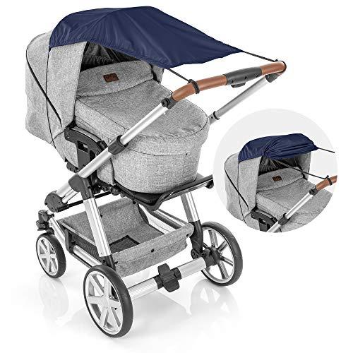 reer ShineSafe Sonnensegel für den Kinderwagen, Sonnenschutz für viele Modelle, blau