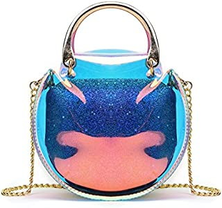New Women's Clutch Bag Coloured Laser Jelly Pack Mini Chain Shoulder Messenger Beach Bag Raincoat Women's Crossbody Bag, Light Wallet and Handbag Sh (Color : Clear, Size : S)