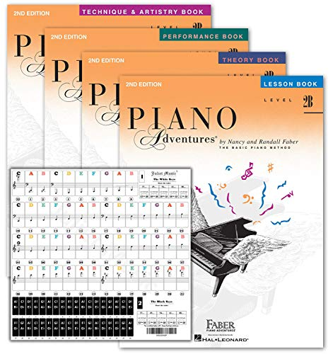Piano Adventures Level 2B Learning Set By Nancy Faber - Lesson, Theory, Performance, Technique & Artistry Books & Juliet Music Piano Keys 88/61/54/49 Full Set Removable Sticker