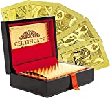 Invero Certificated 24K Pure Gold Plated Playing Cards Full Poker Deck - Complete with Presentation Box and Certificate of Authentication