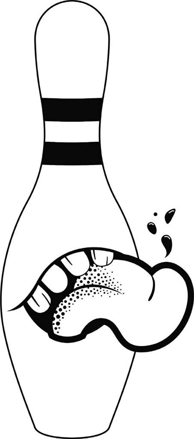 Bowling Pin Mouth Tongue Out Sports Clip Art Vinyl Wall Decal Vinyl Peel And Stick Sticker Wall Decal Picture Art Graphic Design Image Decor 60X20