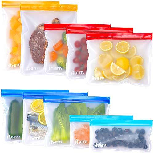 Lebensmittel Beutel Wiederverwendbare, 10 Stück, für Gefrierschrank, Sandwich, Snack-Beutel, Lebensmittelqualität