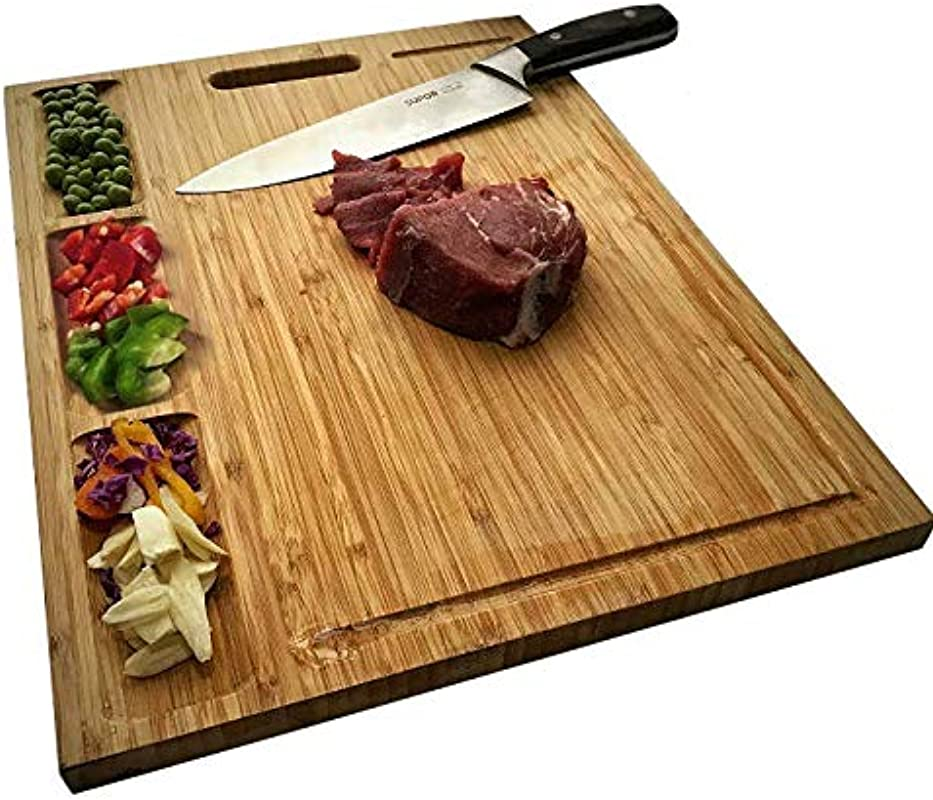 HHXRISE Large Organic Bamboo Cutting Board For Kitchen With 3 Built In Compartments And Juice Grooves Heavy Duty Chopping Board For Meats Bread Fruits Butcher Block Carving Board BPA Free