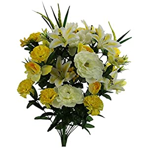 Admired By Nature ABN1B001-YLW 40 Stems Artificial Full Blooming Lily, Rose Bud, Carnation and Mum with Greenery Mixed Flower Bush, Yellow