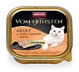 Comida para gatos animonda Vom Feinsten Adult, comida húmeda para gatos adultos, relleno gourmet con pollo, filete de salmón + espinacas, 32 x 100 g