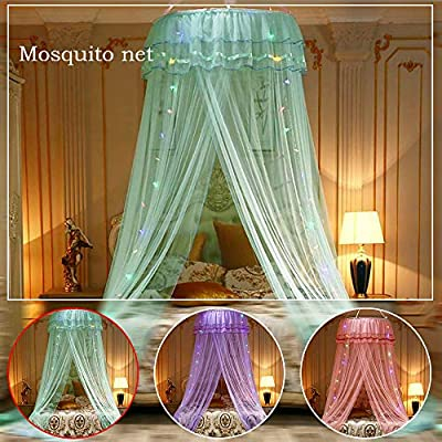 Adoture LED Light Princess Dome Mosquito Net Mesh Bed Canopy Bedroom Decoration Luxury Princess Bed Canopy Mosquito Net for Girls, Teens or Over Baby Crib in Nursery
