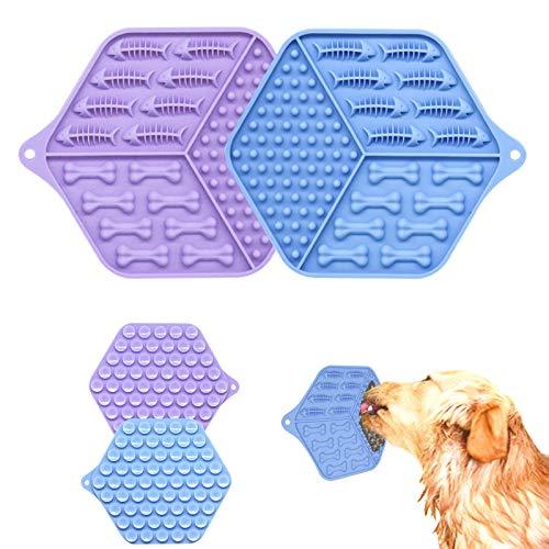 LONXAN Hund Lecken Pad, 2 Stück Lick Pad Hund Lecken Pad, Hund Slow Feeder mit Starke Saugkraft, Hund Katzen Bad Waschen Dusche Training Ablenkung Spielzeug, für Hunde Spaß Dusche