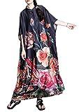 HangErFeng Everyday Dress Silk Blend Printed Mock Neck Elbow-Sleeve Long Plus Size Loose Skirt1553 Red (Apparel)