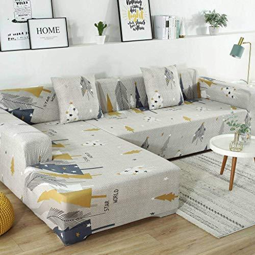 Jonist Funda de sofá Todo Incluido Fuerza elástica Four Seasons Ensamblar sofá Muebles Escudo Acogedor Durable-F-Tres Personas 190~230cm