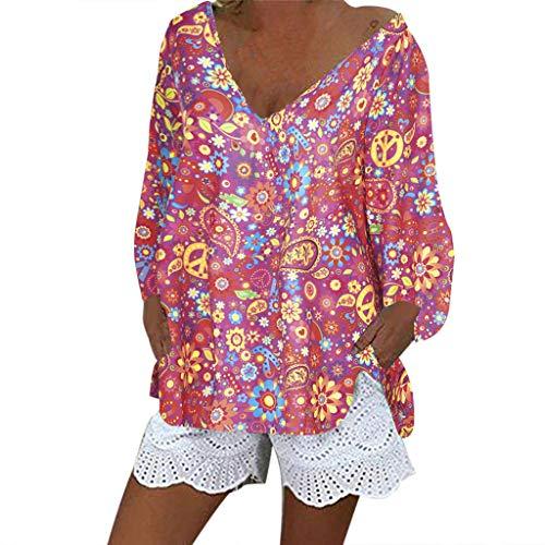 LOPILY Damen printed floral tunika hippie-strand bluse bunte boho shirts schwingen hem tunika mit laterne sleeves blumen tops 10 hot rosa