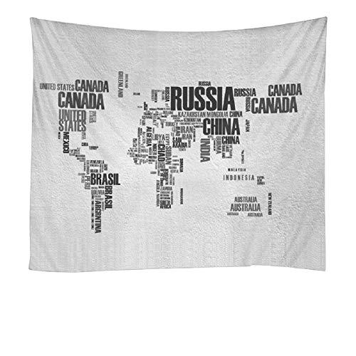Tela decorativa de fondo de tapiz impreso de poliéster de mapa del mundo multicolor 150x130cm/59*51inch
