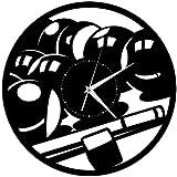 zgfeng Disco de Vinilo Reloj de Pared Billar Juego de Mesa de Billar Reloj de Pared de Vinilo Regalo Aficionado a los Deportes decoración para el hogar 12 Pulgadas