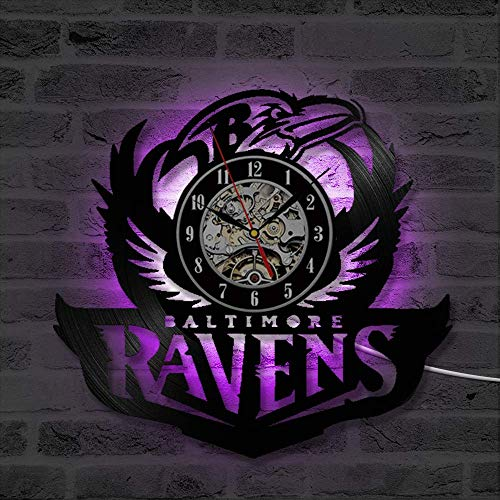 KOUDGZ Wanduhren/Schwarz Hohl Baltimore Ravens Vinyl Record Uhr Antike Hängende Wandkunst LED Uhr Kreative und Mode CD Wanduhr