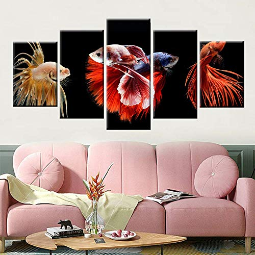 Nordic Canvas Art Painting Colorful Horsetail Fighting Fish Picture 5 Panel Wall Art Poster Living Room Home Decoration Painting-20x35 20x45 20x55cm No Frame