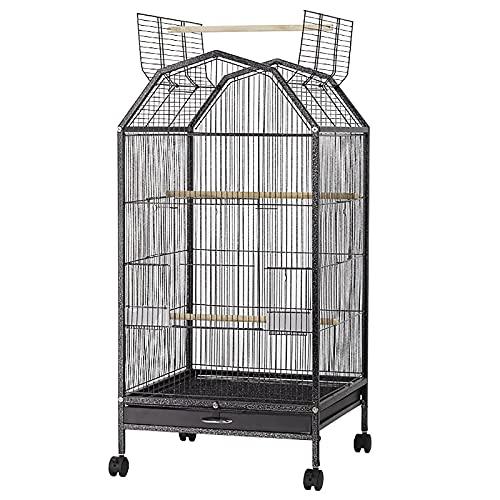 BZZBZZ Jaula para pájaros Extra Grande de Metal con Ruedas, 2 Niveles, pajarera con Ruedas y bandejas de alimentación para cacatúas/Loros/agapornis/pinzones/periquitos (Negro)