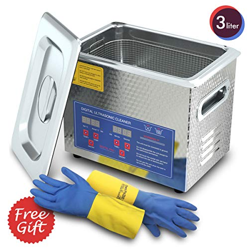 Digital Ultrasonic Cleaner 3L for Cleaning Carbs Jewelry Injectors Bullets Guns and Brass 200W Heated Professional Ultrasonic Cleaning Machine