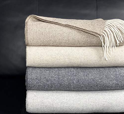 Eikei Wool Throw Blanket Geo Herringbone Pattern Oversized Couch Throw Blanket Fringe Trim Soft Merino Woolen Afghan Minimalist Style Lightweight Machine Washable (Mocha, 55Wx78L)