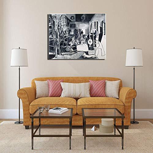 ZDanYA Pablo Picasso y Las Meninas Cuadro sobre Lienzo para Pared póster Impresiones Pintura Moderna Cuadro de Pared para Sala de Estar decoración del hogar 60x80cm Sin Marco