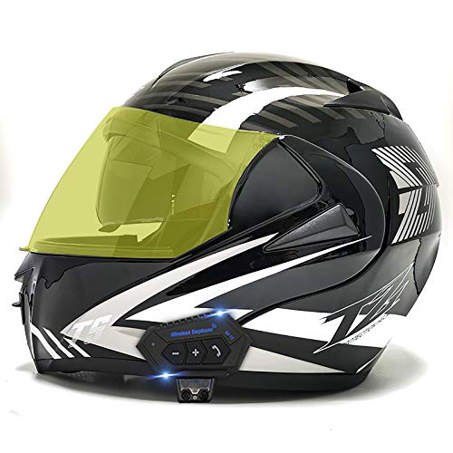 ZLYJ Casco Bluetooth Integrado para Motocicleta Casco Modular Abatible con Antiniebla Casco De Ciclomotor De Doble Lente para Mujeres Y Hombres Aprobado por ECE G,M