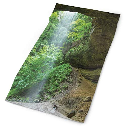 GUUi Headwear Headband Head Scarf Wrap Sweatband,Canyon Michigan Caves Memorial Falls in The Forest Eco Foliage Picture,Sport Headscarves for Men Women
