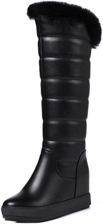 TAOFFEN Women Boots Hidden Heel Pull On