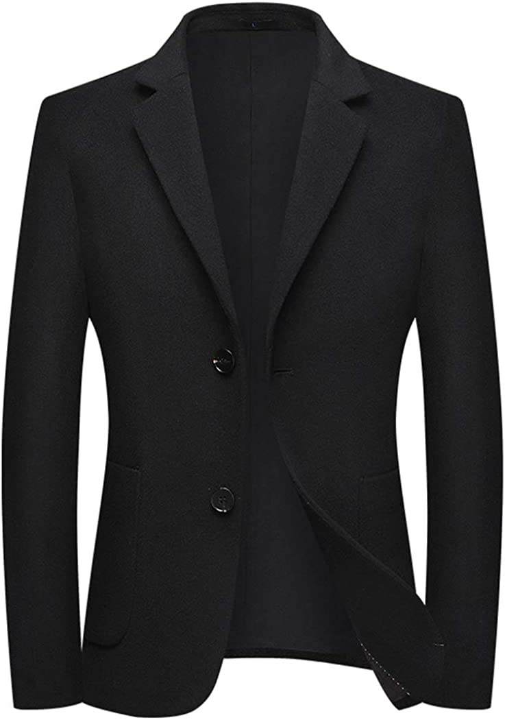 Men's Wool Blend Blazer Casual Sports Jacket Slim Fit Two Buttons Notched Lapel Heavyweight