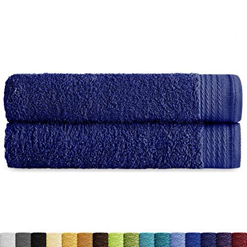 Eiffel Textile Packs de Toallas Calidad Rizo 600 gr, Algodón Egipcio 100%, Azul Marino, 2X Sabana, 2 Unidades