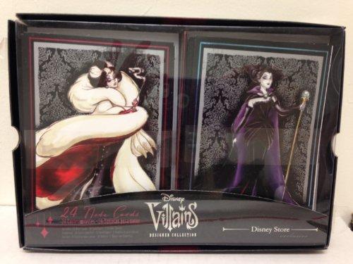 Auténtico Disney Exclusive villanos funda Collection 24tarjetas de Nota con sobres con Maléfica, Cruella De Vil, mal reina, Ursula, madre Gothel, y la reina de corazones
