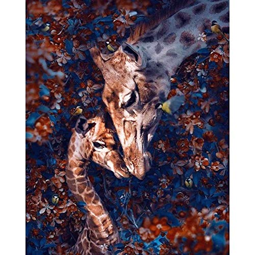 Lazodaer - Kit de pintura de diamante redondo 5D para adultos y niños, bordado de diamantes para decoración de pared del hogar, jirafas en las flores, 30 x 39 cm