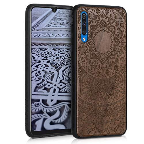 kwmobile Carcasa Compatible con Samsung Galaxy A50 - Funda de Madera de Nogal Sol hindú marrón Oscuro