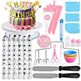 YCbingo Cake Decorating Tools Supplies kit, 106 Pcs Baking Supplies Tips Set 11 Inch Rotating Cake Turntable Stand-Cake Server Knife set-48 Numbered Icing Tips Cake Server Pastry Tools