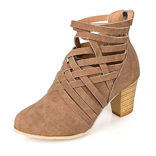 Botines Mujer Tacon Alto, Cuero Botas 7 Cm Otoño Zapatos De Botas Comodos Fiesta Marrón 39