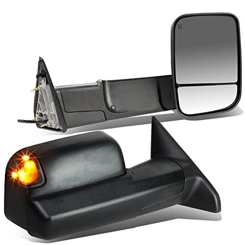 Pair Black Power Heated Glass w/Smoked LED Turn Signal Light Folding Side Towing Mirrors Replacement for Dodge Ram 09-16