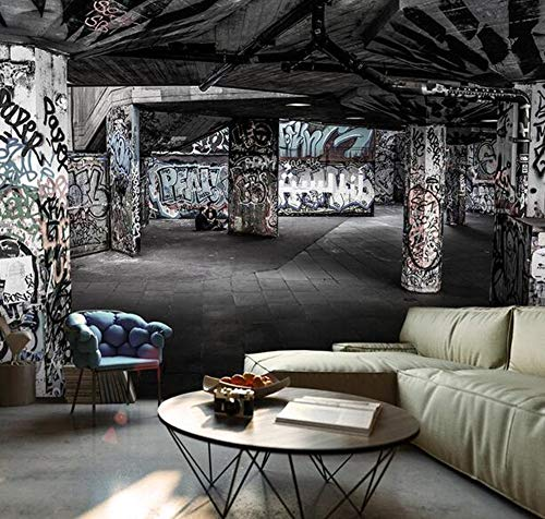 3D Raumerweiterung Wandbild Hip Hop Straße Graffiti Tapete Bar ktv Internet Cafe Restaurant Industrie Wind Tapete, 350cm * 245