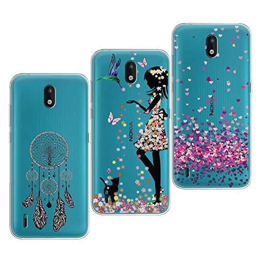 PZEMIN 3 Stück für Nokia 1.3 Hülle Handyhülle Silikon Gummi Clear Schale Transparent Durchsichtig TPU Bumper Schutzhülle, Traumfänger + Hübsches Mädchen + Liebe