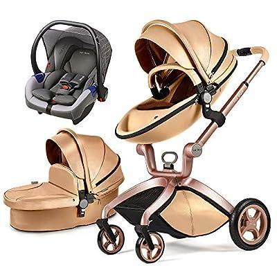 2020 Cochecito de Bebe Hot Mom Cochecito y Sillas de paseo con silla y el capazo F22 (Oro-3)