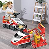 TEMI Ride On Toy Electric High-Speed Rail Train Fire Fighting Ride On Train Race Tracks Car Adventure Toys w/ Lights & Sounds for Kids Toddlers