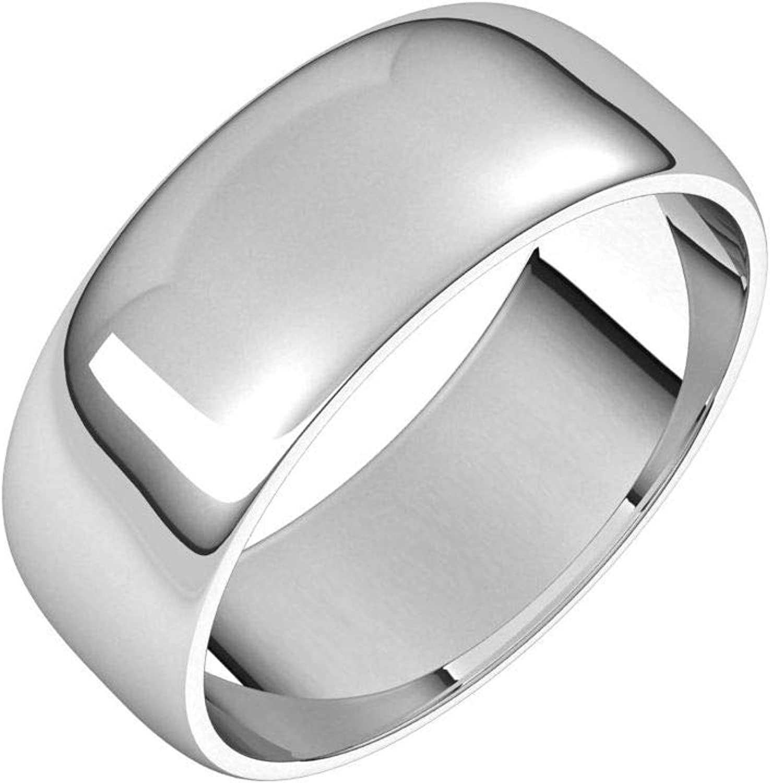Diamond2Deal 14K White 7 mm Half Light Band Ring Wedding Round Sale price f Regular dealer
