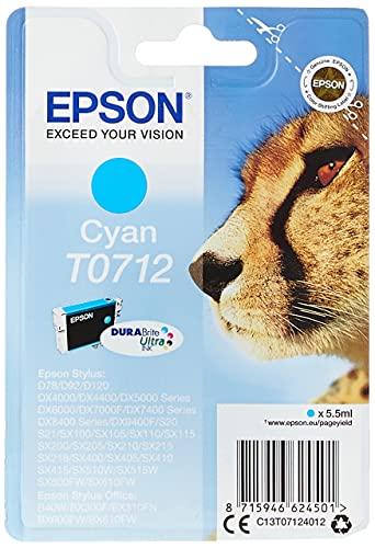 Epson T071 Serie Ghepardo, Cartuccia Originale Getto d'Inchiostro DURABrite Ultra, Formato Standard, Ciano, con Amazon Dash Replenishment Ready
