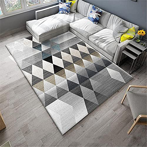 alfombras bebes gateo Alfombra de la sala de estar con alfombra triangular de raya triangular alfombra duradera es fácil de limpiar Gris alfombra suelo bebe 200X280CM alfombras casa 6ft 6.7''X9ft 2.2'