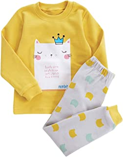 C_EDITION Kids Sleepwear 2-Piece Animal Print Cartoon Cotton Pajama Outfits Set
