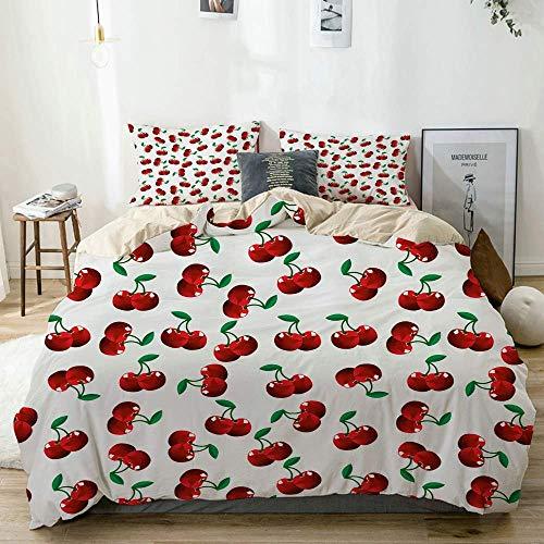 Jojun Duvet Cover Set Beige,Vibrant Cherries Vitamin Agriculture Exotic Summer Garden Pattern Velvet Plush,Decorative 3 Piece Bedding Set with 2 Pillow Shams Easy Care Anti-Allergic Soft Smooth