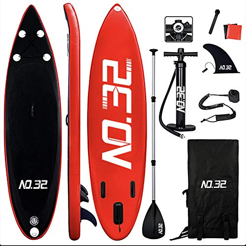 Tabla Hinchable de Paddle Surf + SUP Paddle Remo de Ajustable | Bomba | Mochila | Aleta Central Desprendible | Kit de Reparación y La Cinta para Atar al Pie(300 * 76 * 15cm Grosor, Carga Hasta: 350kg)