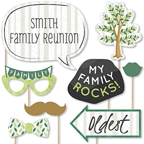 Big Dot of Happiness Custom Family Tree Reunion - Photo Booth Props - Personalized Family Gathering Party Supplies - 20 Selfie Props