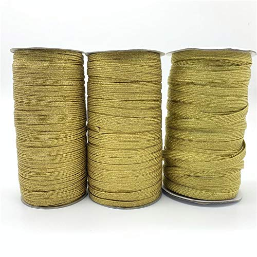 ZICHEN High Elastic Sewing Elastic Band Rubber Band Waist Band Stretch Rope Elastic Ribbon (Color : Gold, Size : 3MM 5yards)