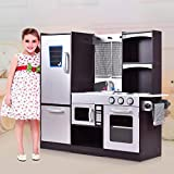 HONEY JOY Kitchen Playset, Wood Kids Play Kitchen with Sink, Stove, Oven, Pretend Cooking Toy Set...