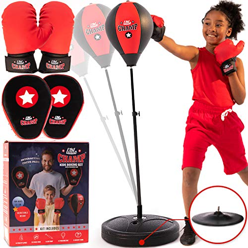 Punching Bag for Kids 3-10 Easy to Assemble +Boxing Gloves +Focus Pads -Pedestal Punching Bag