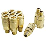 Toolsland 10 Pack Male Air Coupler, 1/4-Inch NPT Thread Quick Connect Air Tool Fittings, Industrial M Style Coupler with Brass Finish for Quickly and Safely Disconnect Air Hose