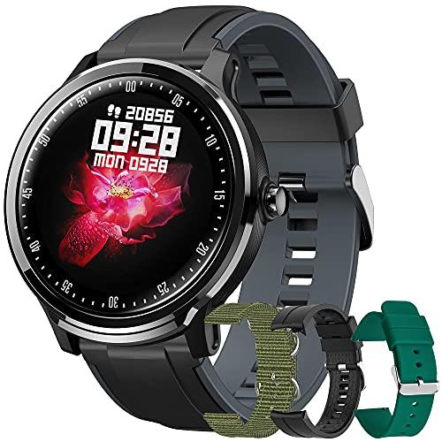 Reloj Inteligente Hombres Smartwatch de Pantalla Táctil Ccompleta Impermeable IP68, Pulsera de Actividad Inteligente con 8 Deportes, Pulsómetro,GPS,Caloría,4 Correas, Compatible con Android iOS (Gris)