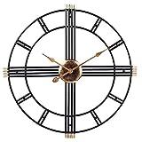 HKX Relojes de Pared para Sala de Estar Reloj de Pared silencioso DIY sin tictac Reloj de Pared Decorativo controlado por Radio con Movimiento Suizo de Cuarzo Reloj con Pilas (20 Pulgadas) -Negro